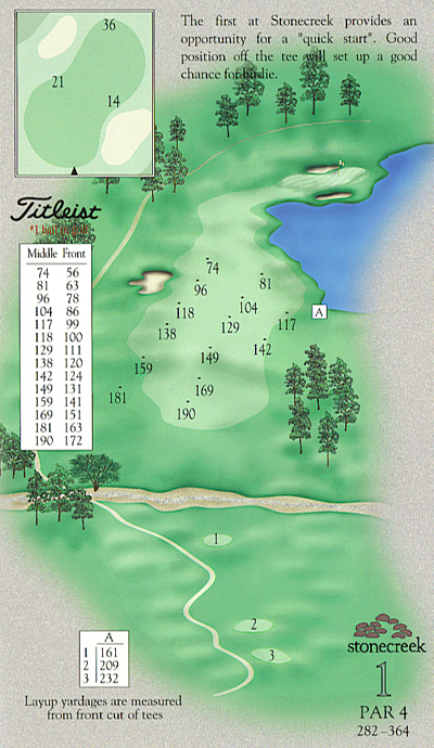 Yardage book photo of hole 1