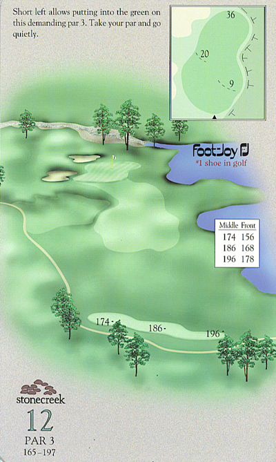 Yardage book artwork of hole 12