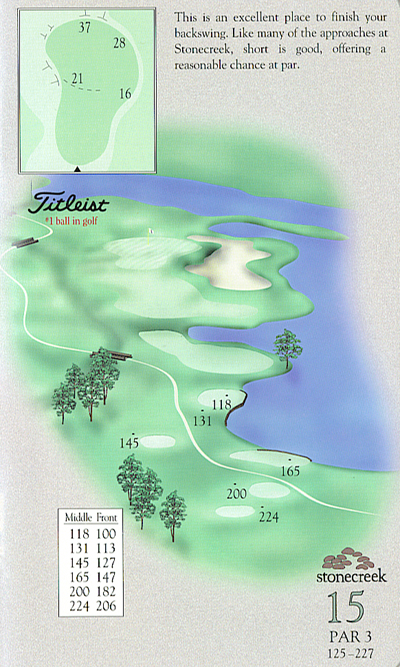 Yardage book artwork of hole 15