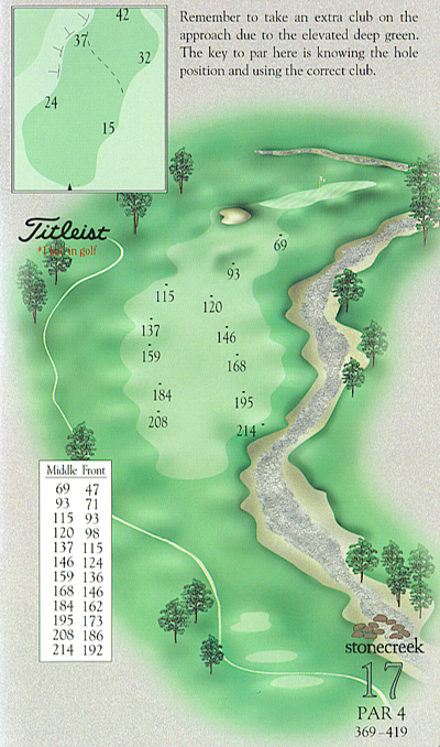 Yardage book artwork of hole 17