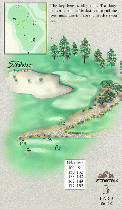 Yardage book artwork of hole 3