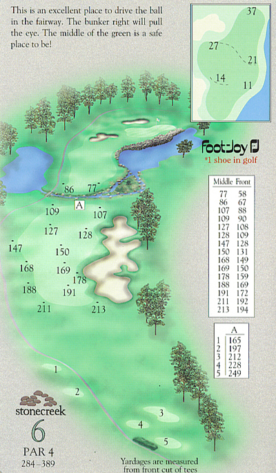 Yardage book artwork of hole 6
